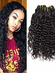 Недорогие -4 Связки Бразильские волосы Волнистые человеческие волосы Remy 200 g Человека ткет Волосы Пучок волос Накладки из натуральных волос 8-28inch Естественный цвет Ткет человеческих волос / Без запаха