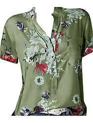cheap -Women's Plus Size Shirt - Geometric Print V Neck Black