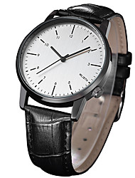 cheap -Men's Dress Watch Quartz Leather Black 30 m Water Resistant / Waterproof Analog - Digital Classic Minimalist - Black Black / White One Year Battery Life