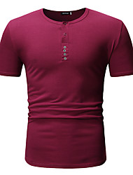 cheap -Men's T-shirt Solid Colored Tops Basic Round Neck Wine White Black / Short Sleeve / Work