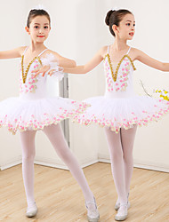 cheap -Kids' Dancewear Ballet Dress Appliques Ruching Split Joint Girls' Training Performance Sleeveless Spandex