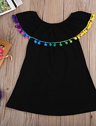 cheap -Baby Girls' Boho Solid Colored Tassel Sleeveless Mini Cotton Dress Black / Toddler