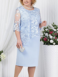cheap -Women's Plus Size Sheath Dress - Half Sleeve Solid Colored Lace Formal Style Summer Spring & Summer For Mother / Mom Cocktail Party Going out 2020 Red Royal Blue Light Blue S M L XL XXL XXXL XXXXL