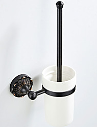 cheap -Retro Black Embossed Chassis Toilet Brush Holder New Design Country / Antique Brass 1pc - Bathroom / Hotel bath Wall Mounted