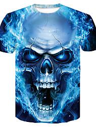 abordables -Tee-shirt Homme, 3D / Bande dessinée / Crânes Imprimé Bleu