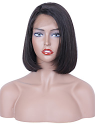 cheap -Human Hair Lace Front Wig Side Part style Brazilian Hair Straight Black Wig 130% Density Women Women's Short Others Clytie