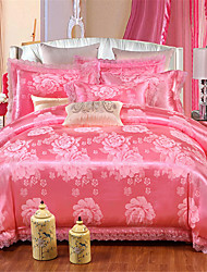 cheap -Duvet Cover Sets Solid Colored / Geometric Poly / Cotton Printed 4 PieceBedding Sets