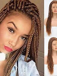 cheap -Synthetic Lace Front Wig Afro Jenner Middle Part Lace Front Wig Long Brown Synthetic Hair 24 inch Women's Soft Women Best Quality Brown