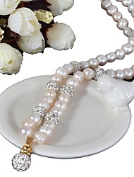 cheap -freshwater pearl classic necklace - rhinestone, pearl blessed fashion, glam, retro / vintage white for evening party gift women's