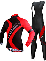 cheap -WOSAWE Men's Long Sleeve Cycling Jersey with Bib Tights Black / Red Bike Clothing Suit Thermal / Warm 3D Pad Reflective Strips Winter Sports Polyester Silicone Fleece Patchwork Mountain Bike MTB Road