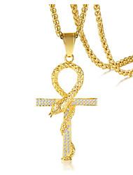 cheap -Men's Cubic Zirconia Pendant Necklace Classic Cross Fashion Hip Hop Satanic Titanium Steel Gold 60 cm Necklace Jewelry 1pc For Gift Daily
