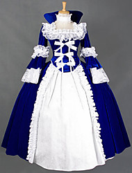 cheap -Princess Lolita Vintage Rococo Dress Cosplay Costume Women's Female Japanese Cosplay Costumes Red / Blue / Black Patchwork Petal Sleeve Long Sleeve Maxi Long Length / Victorian