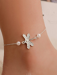 cheap -Women's Ankle Bracelet Star Cute Imitation Pearl Anklet Jewelry Silver For Daily