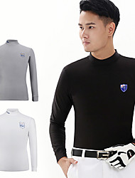 cheap -Men's Tee / T-shirt Long Sleeve Golf Outdoor Spring Winter / Cotton / High Elasticity / Quick Dry / Thermal / Warm / Breathable