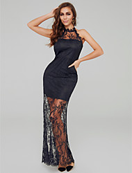 cheap -A-Line High Neck Sweep / Brush Train Lace Sexy Formal Evening Dress 2020 with Lace Insert