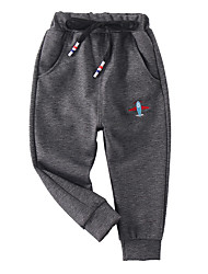 cheap -Kids Boys' Basic Street chic Solid Colored Embroidered Cotton Pants Black