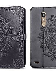 cheap -Case For LG K10 2018 Card Holder / Flip Full Body Cases Solid Colored Hard PU Leather for LG K10 2018