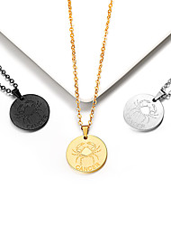 cheap -Women's Pendant Necklace Necklace Charm Necklace Coin Gemini Cancer Simple Trendy Fashion 18K Gold Plated Titanium Steel Gold Black Silver 55 cm Necklace Jewelry 1pc For Graduation Gift Daily School