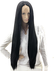 cheap -Straight Yaki Straight Kardashian Layered Haircut Lace Front Wig Long Very Long Black#1B Synthetic Hair 24 inch Women's Party Sexy Lady Color Gradient Black White / Ombre Hair