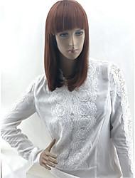 cheap -Silky Straight Bob Wig Medium Length Medium Auburn Synthetic Hair 10 inch Women's Normal Synthetic New Arrival Red