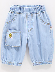 cheap -Kids Boys' Active Basic Solid Colored Patchwork Patchwork Embroidered Cotton Jeans Blue