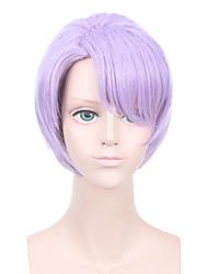 Недорогие -Парики из искусственных волос Естественные волны Стрижка под мальчика Парик Короткие Яркий фиолетовый Искусственные волосы 10 дюймовый Жен. Регулируется Жаропрочная Легко туалетный Фиолетовый