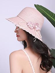 Недорогие -Жен. Активный Классический Симпатичные Стиль Соломенная шляпа Солома,Однотонный Цветочный принт Весна Лето Розовый Бежевый Хаки