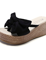 cheap -Women's Sandals Creepers Bowknot PU Casual Summer Black / Dusty Rose / Yellow