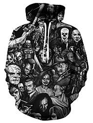 cheap -Men's Plus Size Hoodie 3D / Skull / Portrait Hooded Casual / Basic Black S M L XL XXL XXXL XXXXL XXXXXL