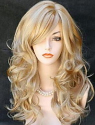cheap -Synthetic Wig Curly With Bangs Wig Blonde Medium Length Light golden Light Brown Black / Red Synthetic Hair 60 inch Women's Women Blonde Brown