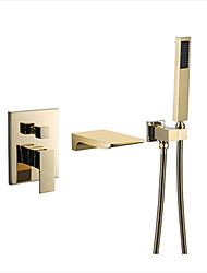 cheap -Shower Faucet - Contemporary Multi-Ply Wall Mounted Ceramic Valve Bath Shower Mixer Taps / Brass / Single Handle Three Holes
