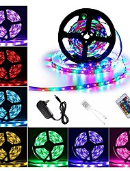 cheap -1 set Waterproof LED Strip Lights Kit RGB Tiktok Lights DC12V Power Supply SMD 3528 8mm 5M 300leds 60ledsm With 24key Ir Remote Controller for Kicthen Bedroom Sitting Room And Outdoor EU UK US Plug