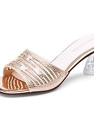 cheap -Women's Sandals Crystal Heel Peep Toe Sparkling Glitter Synthetics Sweet / British / Lucite Heel Fall / Spring & Summer Black / Gold