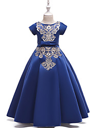 cheap -Kids Girls' Active Cute Solid Colored Floral Lace Short Sleeve Maxi Dress Blue
