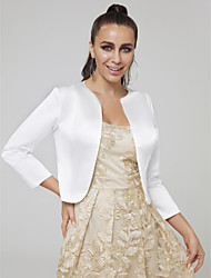 cheap -Long Sleeve Coats / Jackets Stick-Satin Wedding / Party / Evening Women's Wrap With Solid / Splicing