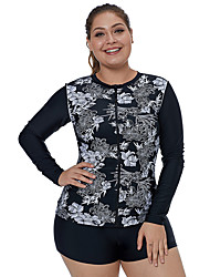 cheap -Women's Rash Guard Swim Shirt Long Sleeve Front Zip - Swimming Water Sports Painting Patchwork Summer / Stretchy
