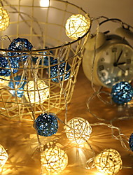 cheap -3m String Lights 20 LEDs Dip Led 1pc Warm White Decorative AA Batteries Powered