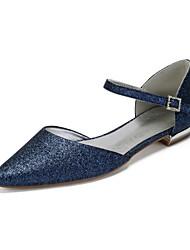 abordables -Femme Satin / Matière synthétique Printemps été Rétro Vintage / British Chaussures de mariage Talon Plat Bout pointu Strass / Paillette / Paillette Brillante Bleu de minuit / Champagne / Ivoire