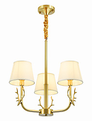 cheap -WEIDE 3-Light 60 cm Creative Chandelier Copper Fabric Empire Industrial Brass Nature Inspired Country 110-120V 220-240V