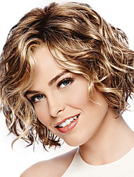 cheap -Synthetic Wig Curly Side Part Wig Blonde Short Black / Gold Synthetic Hair 10 inch Women's Fashionable Design Women Sexy Lady Blonde