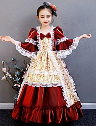 cheap -Princess Rococo Victorian Medieval Dress Outfits Costume Girls' Kid's Costume Red+Golden Vintage Cosplay Party / Evening Birthday Party Birthday Long Length A-Line