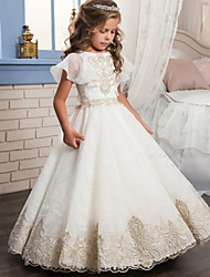 cheap -Ball Gown Floor Length Wedding / Birthday / Pageant Flower Girl Dresses - Cotton / Lace / Tulle Short Sleeve Jewel Neck with Lace / Beading / Embroidery