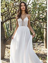 cheap -A-Line V Neck Floor Length Chiffon Bridesmaid Dress with / Open Back