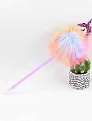 cheap -Plastic Unicorn Hair Ball Blue Pencil Lead Ballpoint Craft Gifts For Children Learning Office Stationery