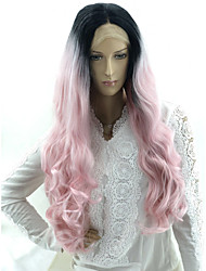 cheap -Matte Water Wave Middle Part Lace Front Wig Pink Very Long Black / Pink Synthetic Hair 24 inch Women's Fashionable Design Party Best Quality Pink Light Brown