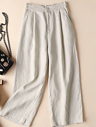 cheap -Women's Basic Wide Leg Pants - Solid Colored Linen Black White Khaki S M L