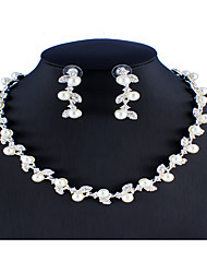 cheap -Women's White Bridal Jewelry Sets Link / Chain Floral Theme Botanical Unique Design Fashion Elegant Imitation Pearl Rhinestone Earrings Jewelry Silver For Christmas Wedding Party Engagement Gift 1 set