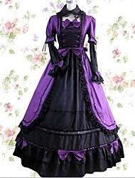 abordables -Rétro Vintage Princesse Rococo Robe Costume de Cosplay Femme Japonais Costumes de Cosplay Violet / Rouge / Rose Mosaïque Pétale Manches Longues Maxi Long / Victorienne