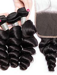 cheap -3 Bundles with Closure Brazilian Hair Loose Wave Virgin Human Hair Natural Color Hair Weaves / Hair Bulk Bundle Hair One Pack Solution 8-28 inch Natural Color Human Hair Weaves Newborn Life Classic