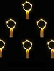 Недорогие -6 шт. 1 м 10 из светодиодов пробки в форме из светодиодов ночь звездный свет медной проволоки пробка бутылка вина украшения прохладный теплый белый красочный
